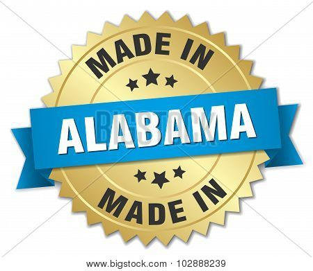 Made In Alabama Gold Badge With Blue Ribbon