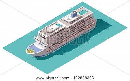 Isometric icons representing cruise liner