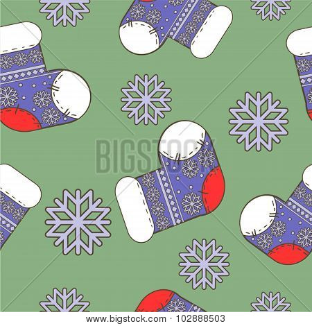 seamless winter  Christmas pattern with socks