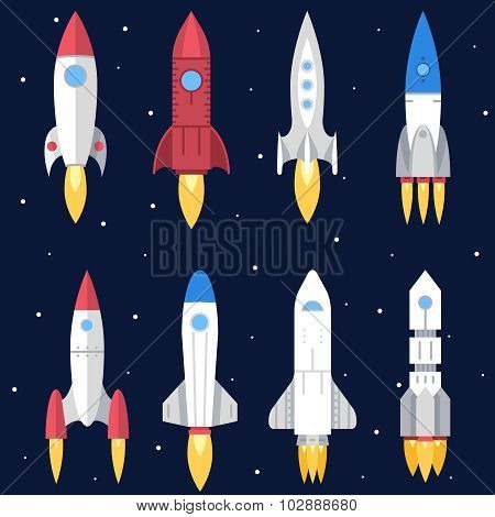 Space Rocket Start Up and Launch Symbol New Businesses Innovation Development Flat Design Icons Set