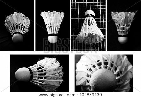 Collage Shuttlecock On Badminton Racket On Black Background