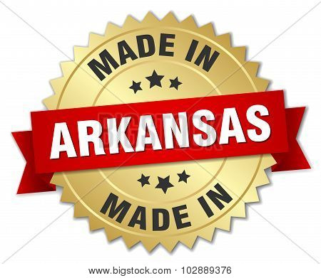 Made In Arkansas Gold Badge With Red Ribbon