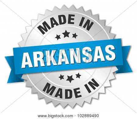 Made In Arkansas Silver Badge With Blue Ribbon