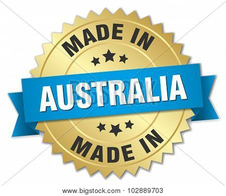 Made In Australia Gold Badge With Blue Ribbon