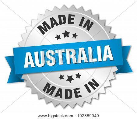 Made In Australia Silver Badge With Blue Ribbon