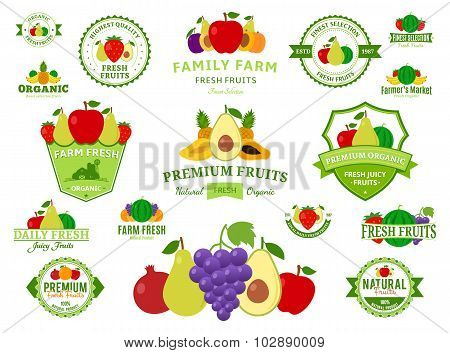 Fruits Labels, Fruits Icons And Design Elements