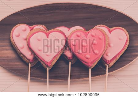 Delicious Fresh Cookies On A Plate In The Form Of Heart On A Wooden Background.
