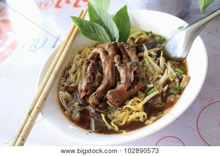 Noodle With Braised Chicken Soup, Thai Style, Popular Food
