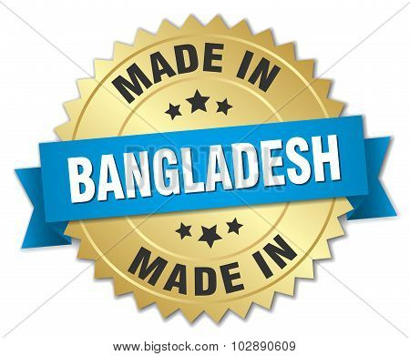 Made In Bangladesh Gold Badge With Blue Ribbon
