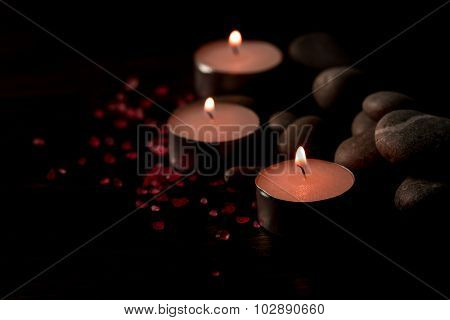 Beautiful Spa Composition With Aroma Candles On Wooden . Treatment, Aromatherapy