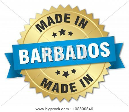 Made In Barbados Gold Badge With Blue Ribbon