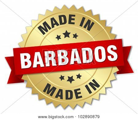 Made In Barbados Gold Badge With Red Ribbon
