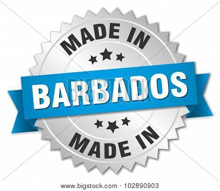 Made In Barbados Silver Badge With Blue Ribbon