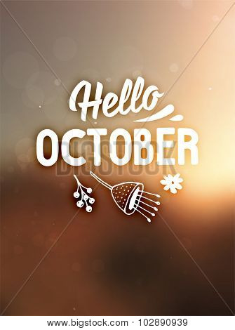 Autumn abstract vector banner. Typographic greeting card design. Blurred background. Hello October