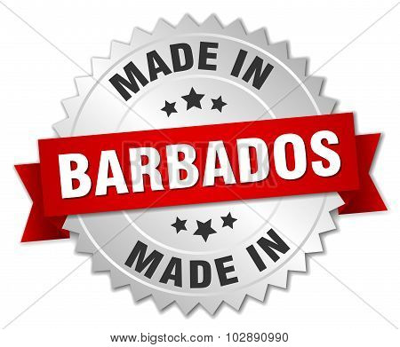 Made In Barbados Silver Badge With Red Ribbon