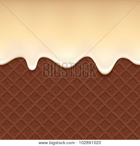 Chocolate wafer and flowing vanilla cream - vector background.