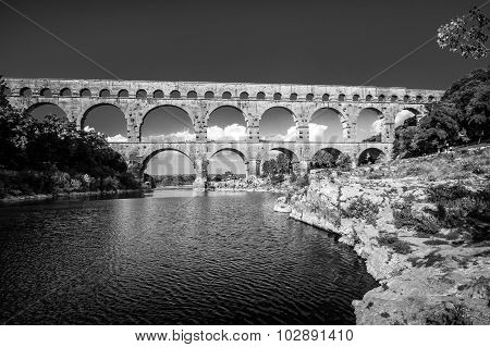 Pont Du Gard, Ancient Roman's Bridge In Provence, France