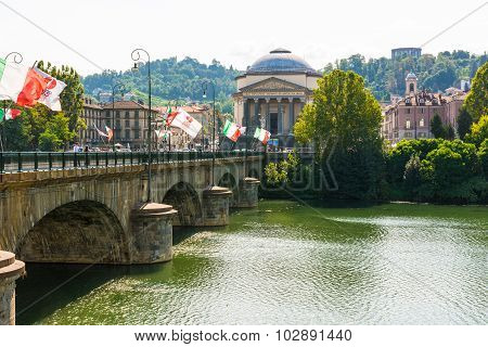 The bridge over the Po River, Turin