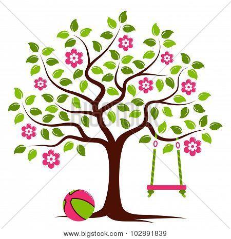 Flowering Tree With Swing