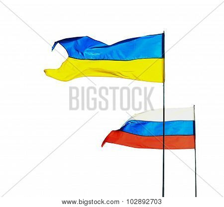 Russian And Ukrainian Flags Isolated On White Background