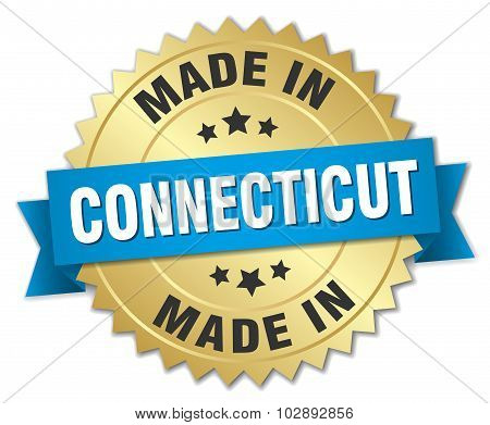 Made In Connecticut Gold Badge With Blue Ribbon