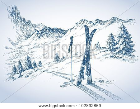 Ski background, mountains in winter season