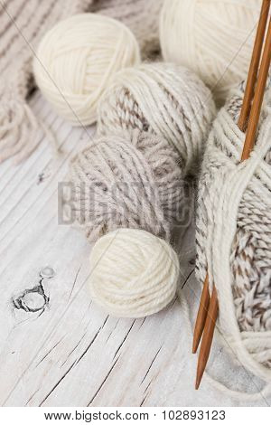 Skeins Of Wool Yarn And Knitting Needles From Bamboo