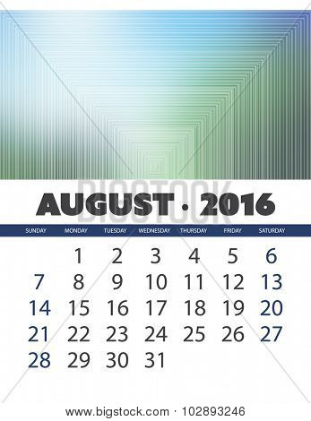 Monthly Calendar: August 2016 Template with Colorful Abstract Background. Vector Illustration.