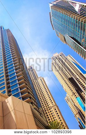 Skyscrapers, Tall Buildings And Buildings, View From Below, Emirates