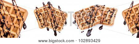 Waffles With Chocolage Sauce