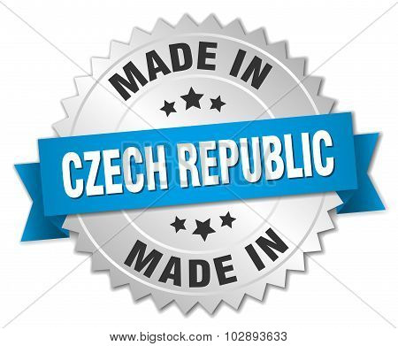 Made In Czech Republic Silver Badge With Blue Ribbon