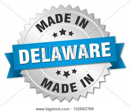 Made In Delaware Silver Badge With Blue Ribbon