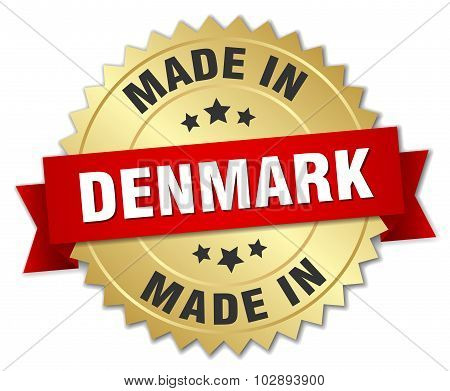Made In Denmark Gold Badge With Red Ribbon