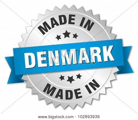 Made In Denmark Silver Badge With Blue Ribbon