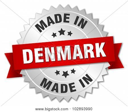Made In Denmark Silver Badge With Red Ribbon