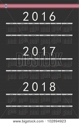 Set Of Black Rectangle Norwegian 2016, 2017, 2018 Year Vector Calendars