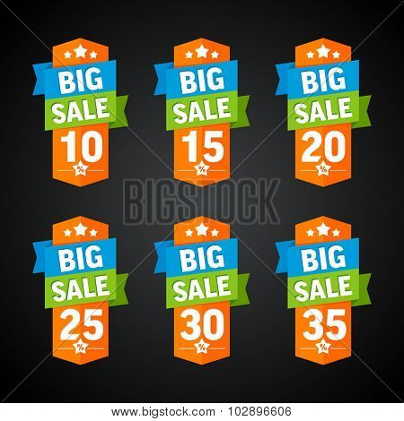Big sale 10-35 percent orange badge. Vector illustration.