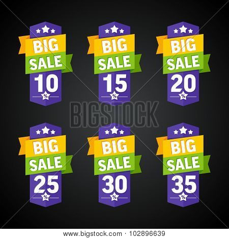 Big sale 10-35 percent purple badge. Vector illustration.