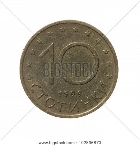 Coin Ten Sotinok Bulgaria Isolated On White Background. Top View