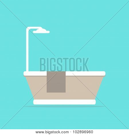 Bathtub. Modern isolated bathtub with shower and towel. Bathtub icon. Classic bath.