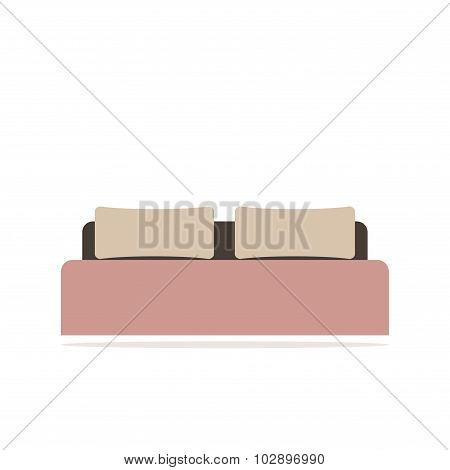 Bed. Isolated bed icon. Modern wooden bed with pillows and blanket. Two side bed.