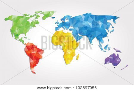 abstract vector background with world map with triangles