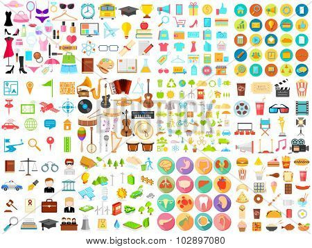 illustration of flat icon jumbo collection of education,medical,music,food,beauty,shopping, business and environment