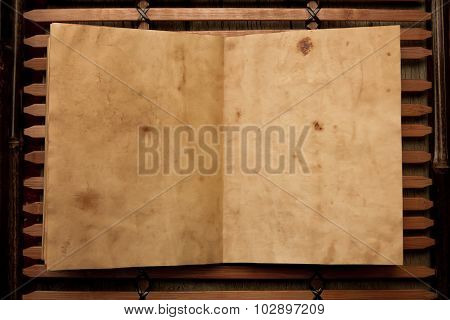 Open Old Vintage Book On Chinese Wooden Tray