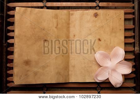 Open Old Vintage Book On Chinese Wooden Tray. Spa Composition