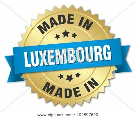 Made In Luxembourg Gold Badge With Blue Ribbon