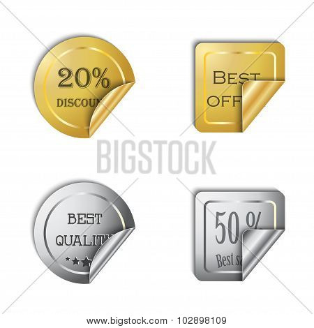 Gold and silver vector sticker set on a white background.