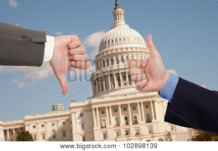 Voting hands in Washington D.C.