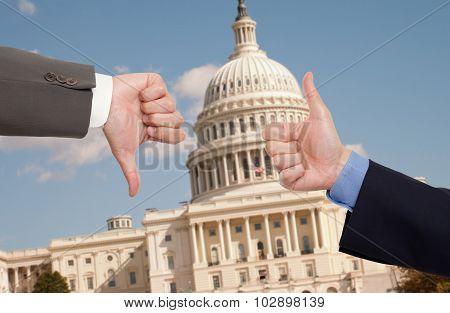 Voting hands in Washington D.C.
