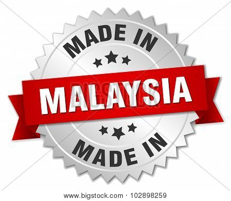 Made In Malaysia Silver Badge With Red Ribbon